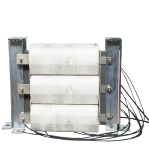 Three phase transformer with three coils sequentially connected.